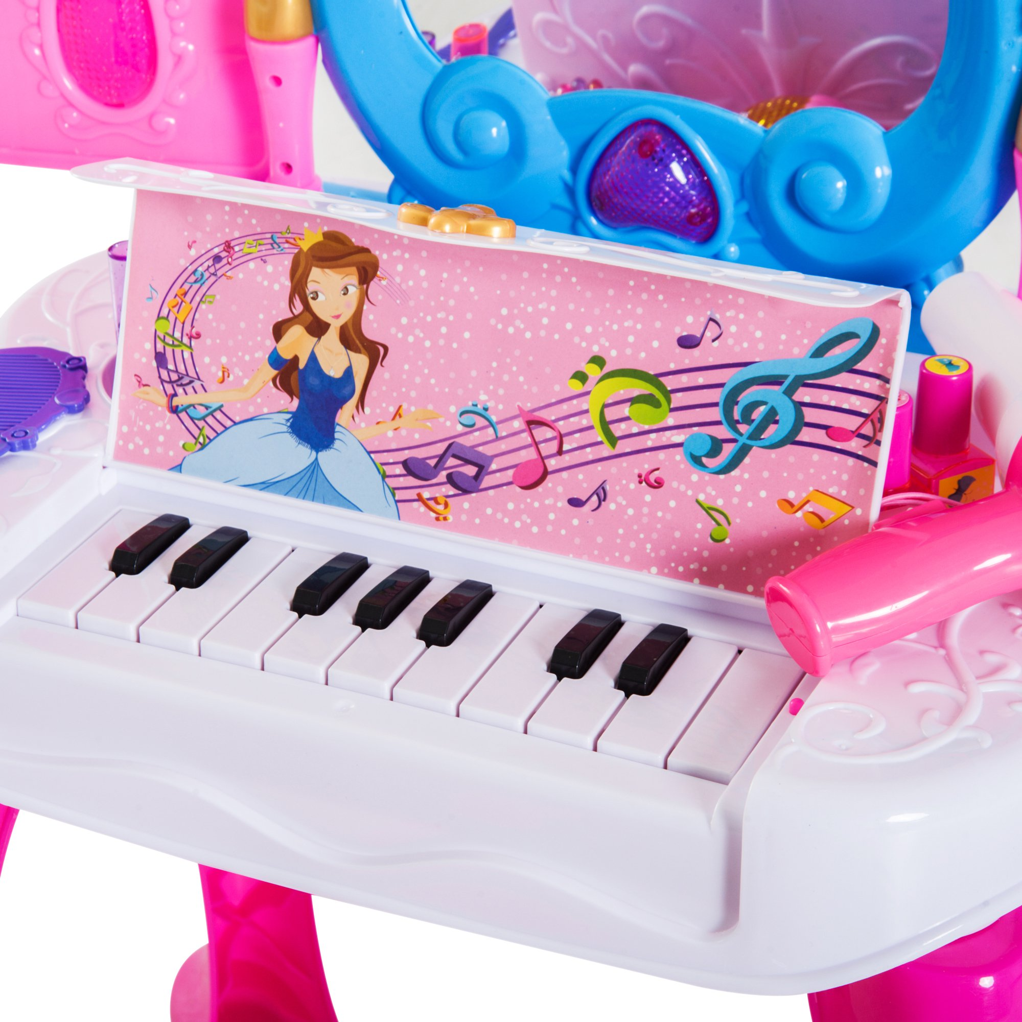Piano Con Juguete Tocador Espejo Remoto Infantil Taburete Mesita ymP8wONnv0