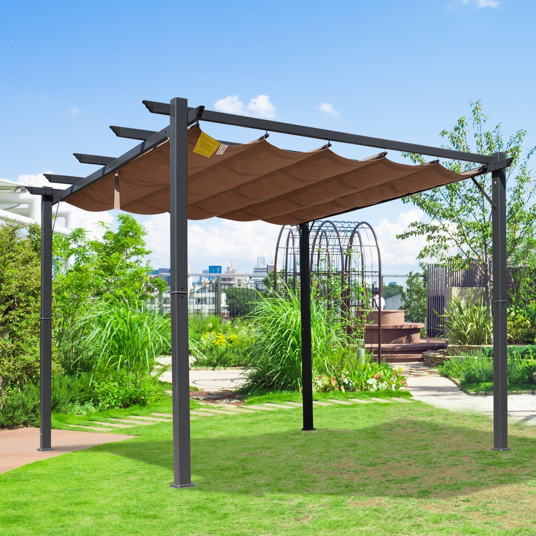 1f3c0f4d Pérgola de Aluminio Gazebo Cenador para Jardín Patio o Terraza con Techo  Retráctil