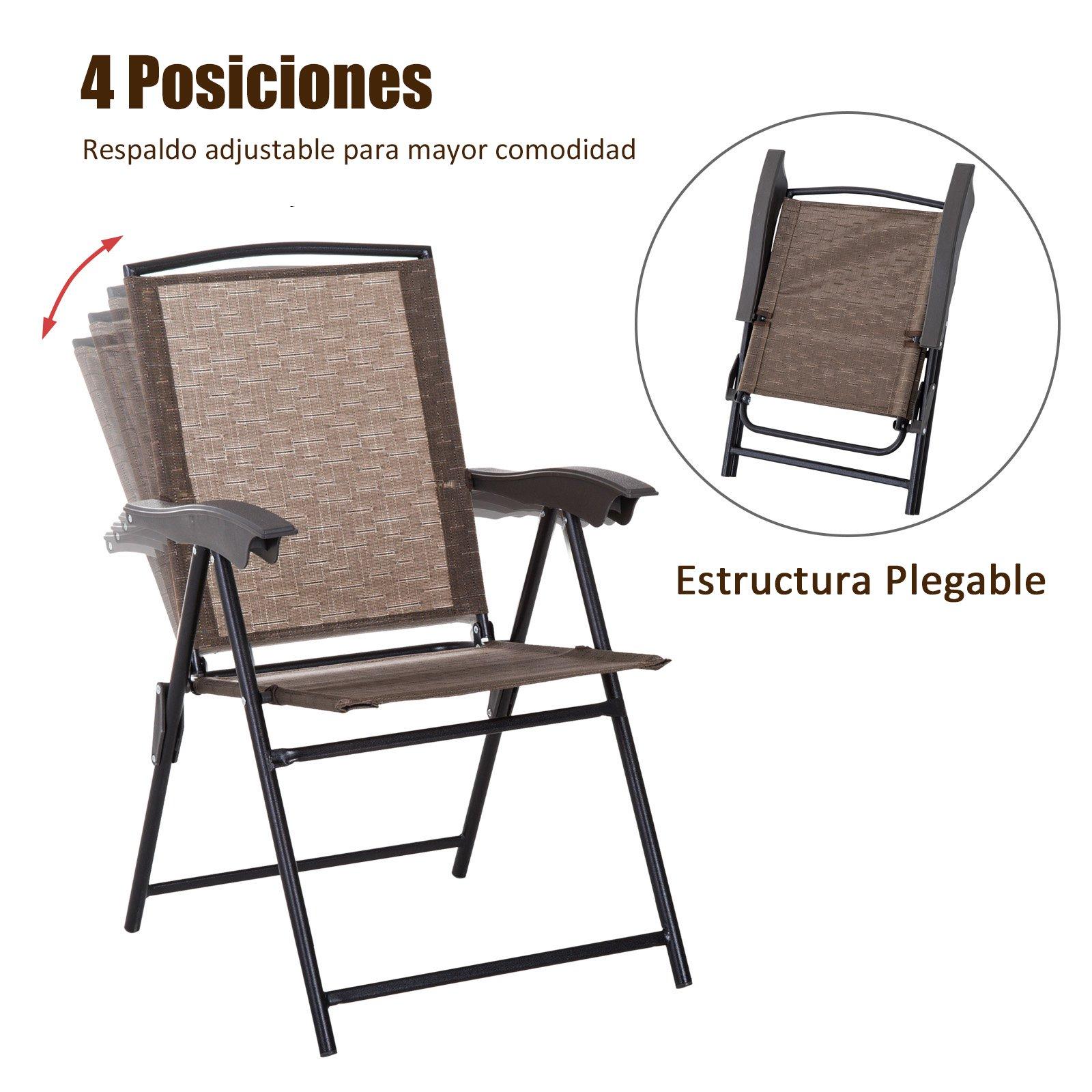 Muebles Conjunto Silla Y Sillas Plegable Respaldo Mesa 2 kPZiXuTO