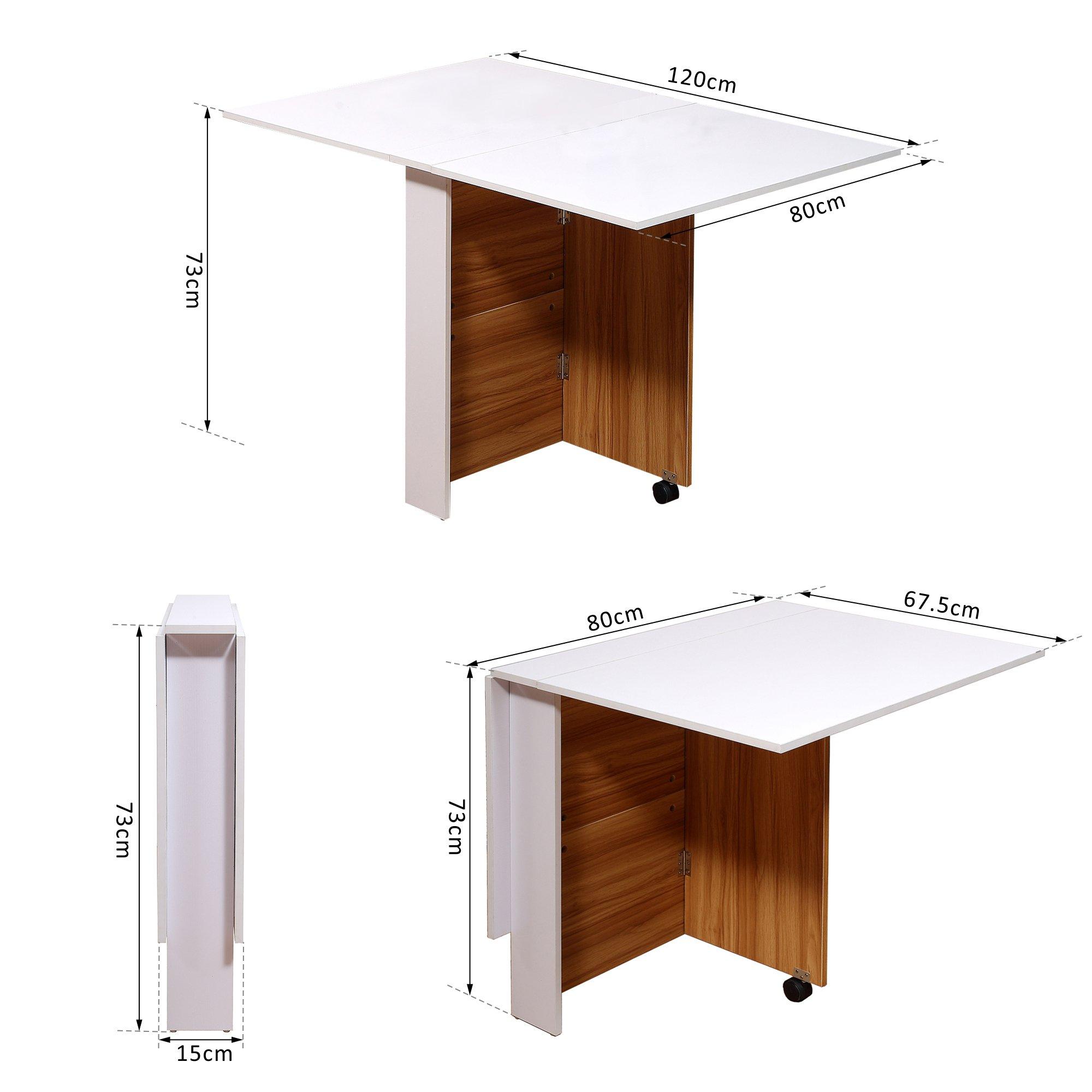 Mesa Comedor Plegable con Ruedas Estante Multifuncional Salón 3 Formas