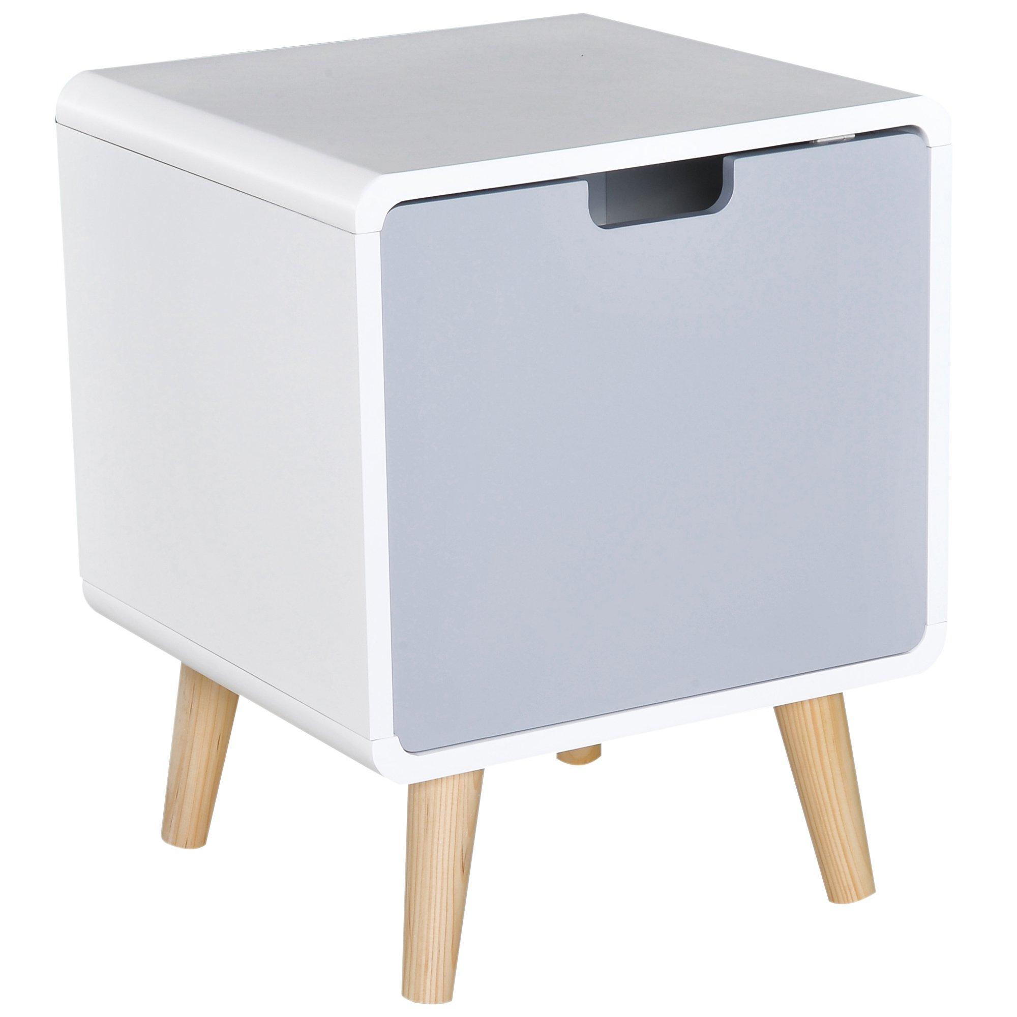 Mesita De Noche Madera Con 1 Cajón Comoda Mesilla Mueble