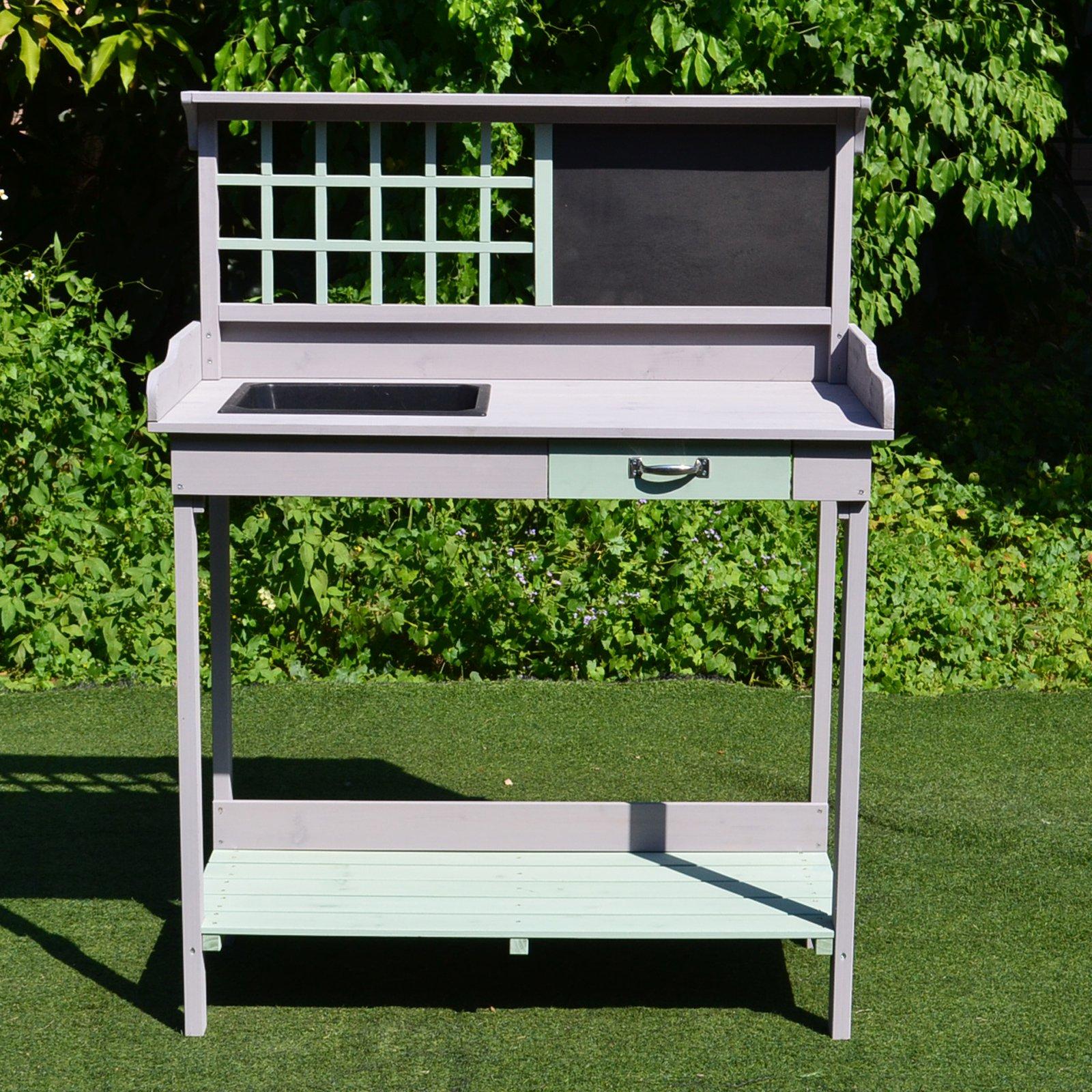 Mesa de jardiner a cultivo mesa exterior para macetas mesa for Jardineria exterior con guijarros