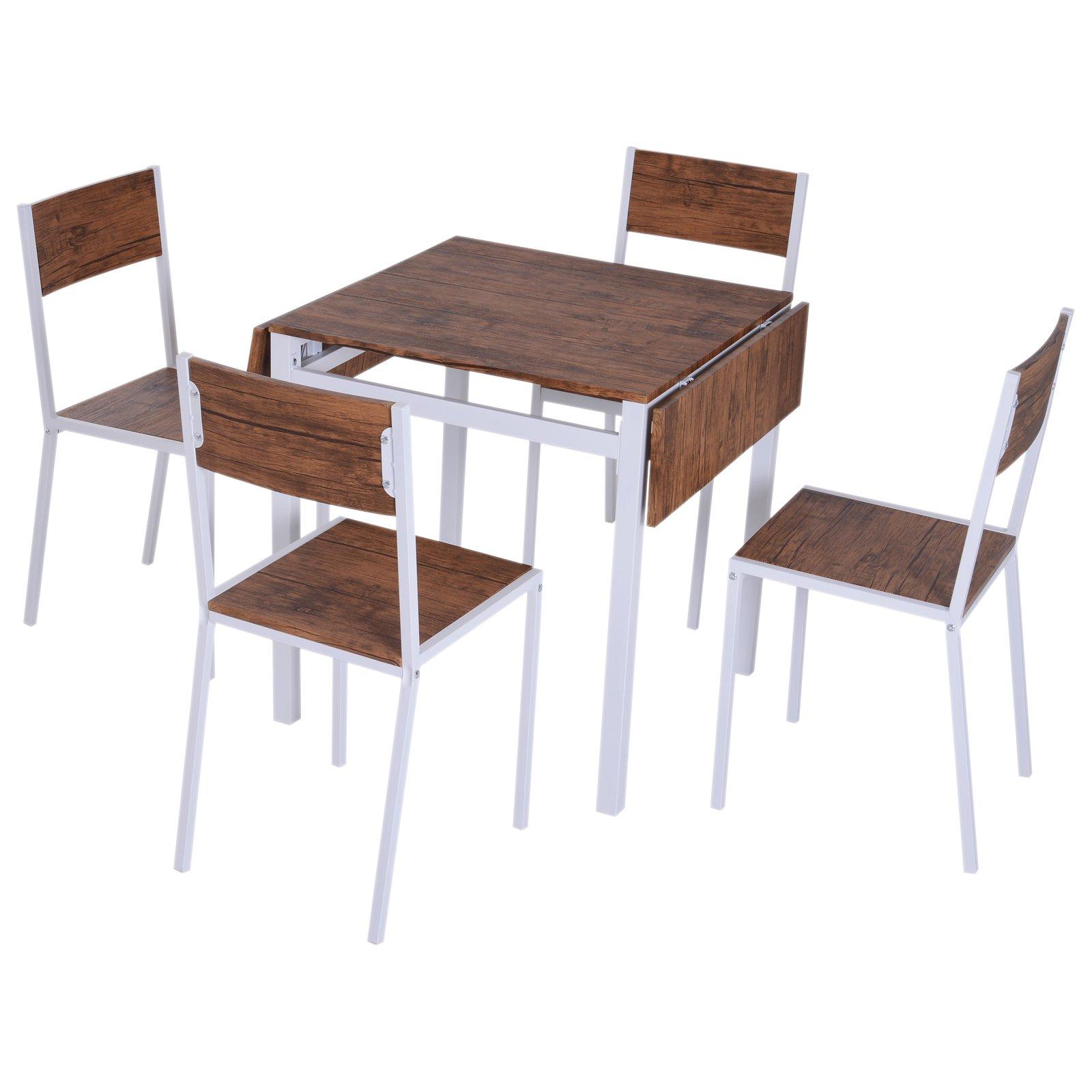 Conjunto de Mesa Extensible y 4 Sillas de Comedor Juego Muebles de Cocina 5  Piezas