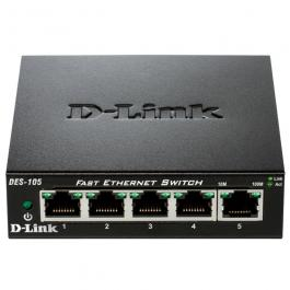 SWITCH D-LINK DES-105 - 5 PUERTOS 10/100 - AUTO MDI/MDIX - PLUG AND PLAY